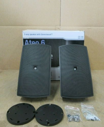 Pair Of Audac ATEO6 2 Way Compact 8Ohm 60w Watt Clever Mount Wall Speaker Black